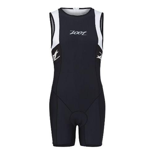 Mens Zoot Performance Tri Backzip Racesuit Triathlete UniSuits - Black/White L