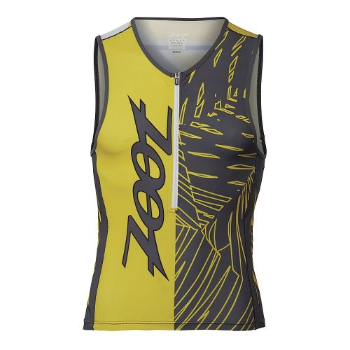 Mens Zoot Performance Tri Team Tank Sleeveless Technical Tops - Pewter/Yellow L