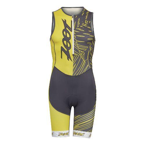 Mens Zoot Performance Tri Team Racesuit Triathlete UniSuits - Pewter/Yellow M
