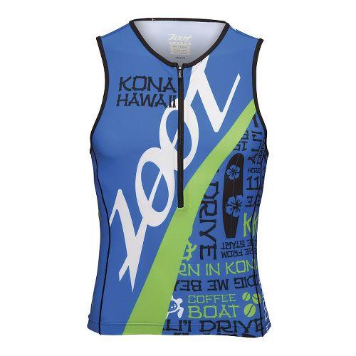 Mens Zoot Ultra Tri Ali'I Tank Sleeveless Technical Tops - Zoot Blue/Green L