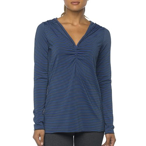 Womens Prana Perry Stripe Pullover Long Sleeve Hooded Technical Tops - Blue Jay XL