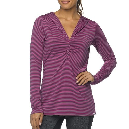 Womens Prana Perry Stripe Pullover Long Sleeve Hooded Technical Tops - Vivid Viola XS