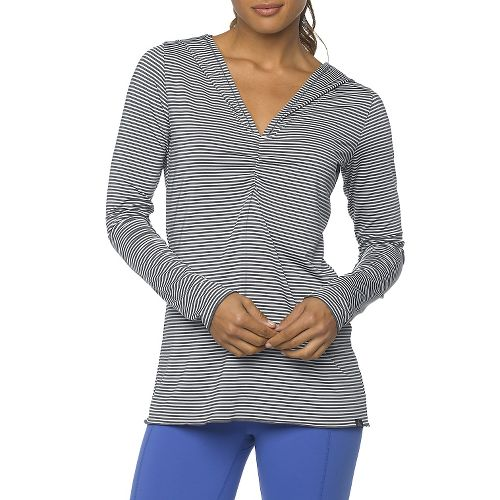 Womens Prana Perry Stripe Pullover Long Sleeve Hooded Technical Tops - Blue Jay XS