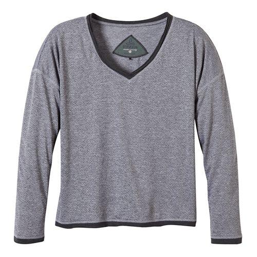 Womens Prana Robyn Long Sleeve No Zip Technical Tops - Coal XL