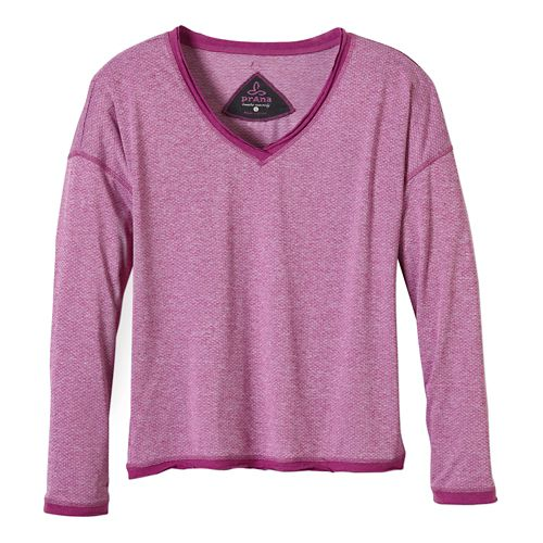 Womens Prana Robyn Long Sleeve No Zip Technical Tops - Vivid Viola M