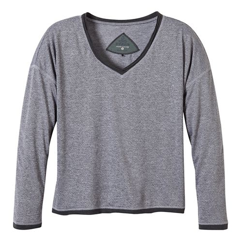 Womens Prana Robyn Long Sleeve No Zip Technical Tops - Coal XS