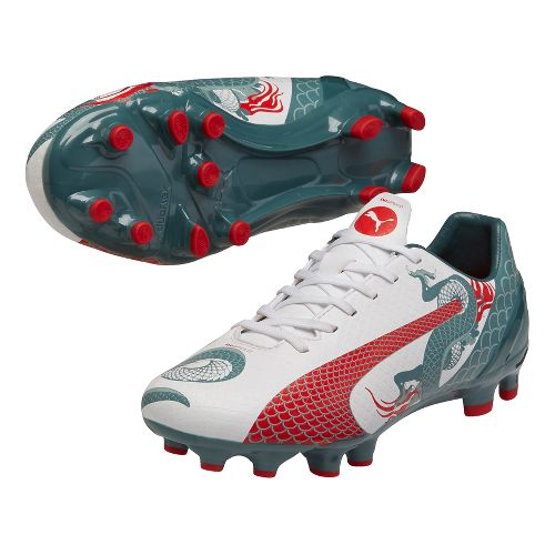 Kids Puma EvoSpeed 4.3 Graphic FG Cleated Shoe - White/Pine 3.5