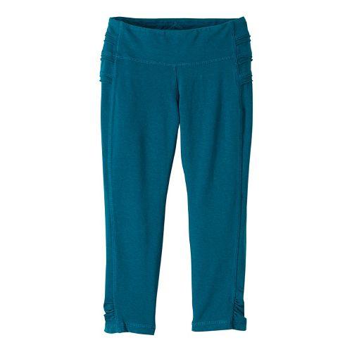Womens prAna Freya Knicker Capris Tights - Green XL