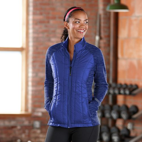 Womens Road Runner Sports Warm Haven Puff Outerwear Jackets - Twilight L