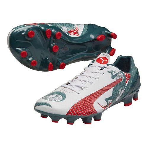 Mens Puma EvoSpeed 2.3 Graphic FG Cleated Shoe - White/Pine 8.5