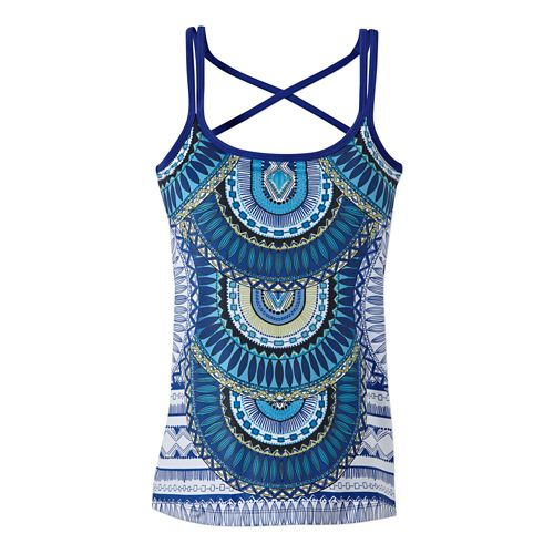Womens Prana Marley Bra Tank Technical Tops - Blue Tribe L
