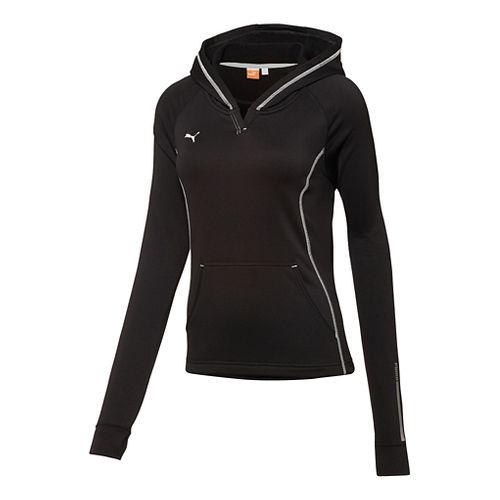 Womens Puma Hergame Light Pullover Long Sleeve Hooded Technical Tops - Black XXL