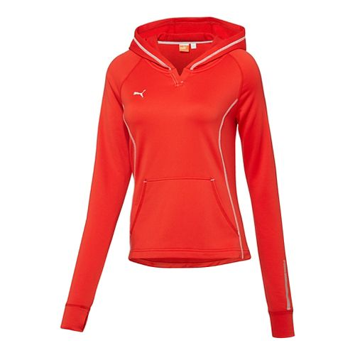 Womens Puma Hergame Light Pullover Long Sleeve Hooded Technical Tops - Red XXS