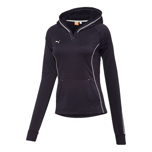 Womens Puma Hergame Light Pullover Long Sleeve Hooded Technical Tops - Navy XS