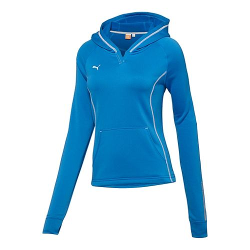 Womens Puma Hergame Light Pullover Long Sleeve Hooded Technical Tops - Royal L