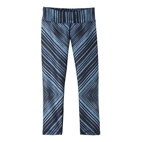 Womens Prana Roxanne Capris Tights - Black Stripe M