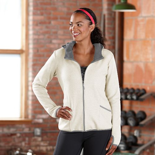 Womens Road Runner Sports Keep Movin' Bonded Fleece Outerwear Jackets - Ivory/Dove Grey XL