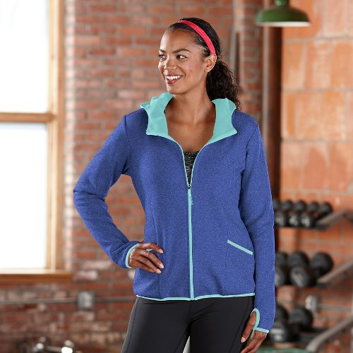 Womens Road Runner Sports Keep Movin' Bonded Fleece Outerwear Jackets - Heather Twilight L