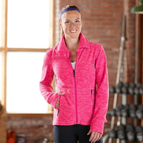 Womens Road Runner Sports Wonderland Fleece Lightweight Jackets - Heather Pink Pop L