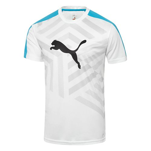 Mens Puma IT Evo TRG Graphic Tee Short Sleeve Technical Tops - White/Ocean L