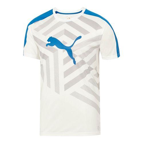 Mens Puma IT Evo TRG Graphic Tee Short Sleeve Technical Tops - White/Grey Dawn S ...