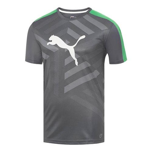 Mens Puma IT Evo TRG Graphic Tee Short Sleeve Technical Tops - Turbulence/Green L