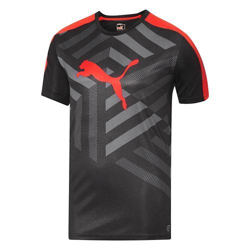 Mens Puma IT Evo TRG Graphic Tee Short Sleeve Technical Tops - Black/Puma Red XXL ...