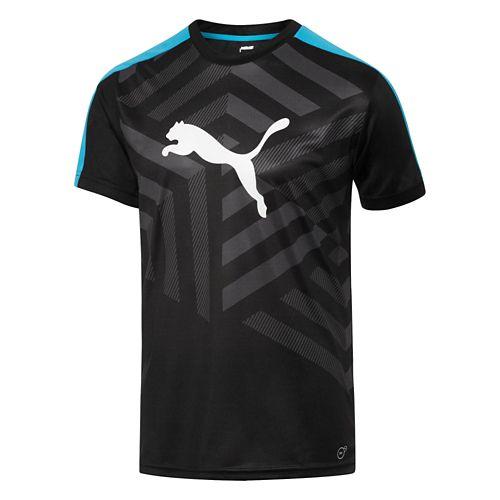 Mens Puma IT Evo TRG Graphic Tee Short Sleeve Technical Tops - Black/Puma Red M ...