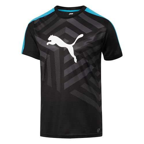 Mens Puma IT Evo TRG Graphic Tee Short Sleeve Technical Tops - Black/Ocean XL