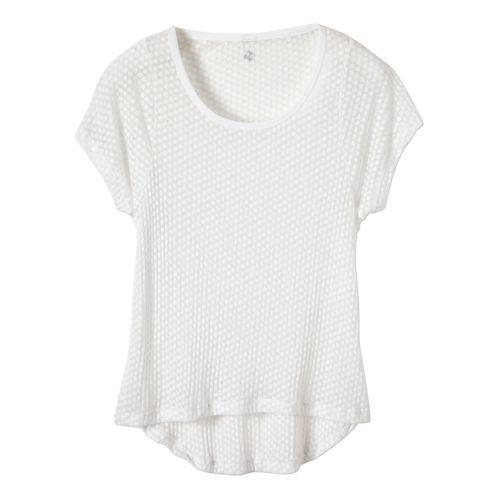 Womens Prana Cherish Short Sleeve Technical Tops - White M