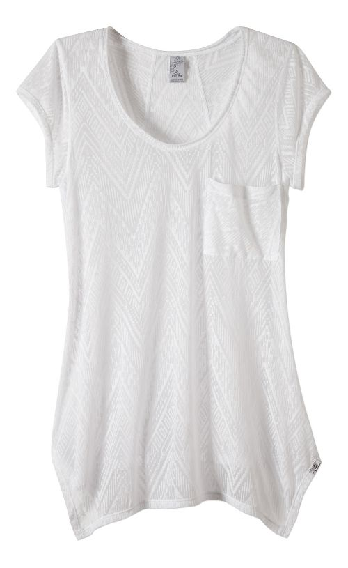 Womens prAna Skylar Short Sleeve Technical Tops - White XL