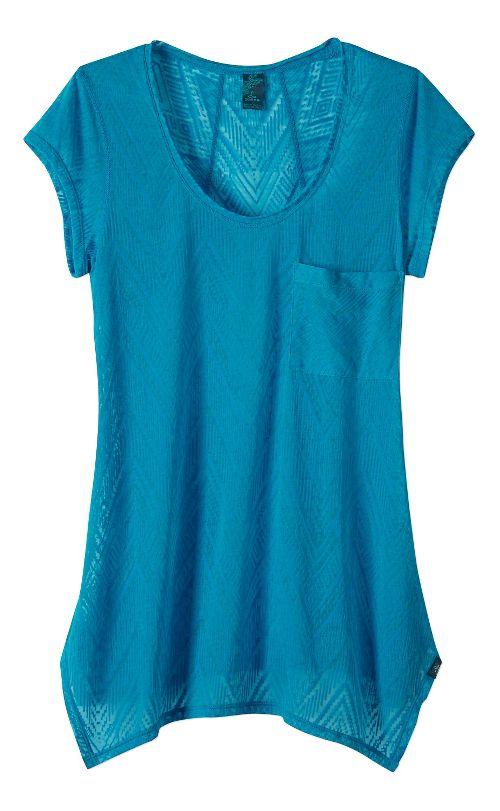 Womens prAna Skylar Short Sleeve Technical Tops - Blue L