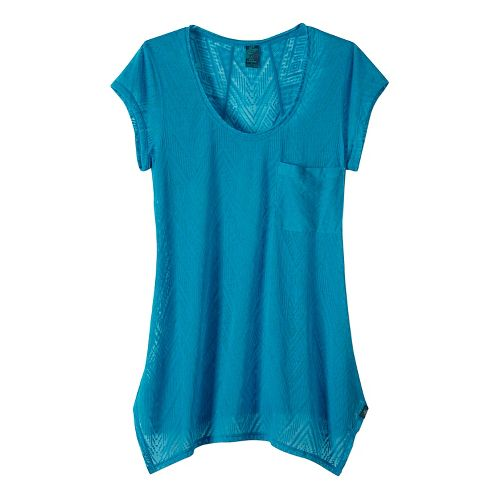 Womens prAna Skylar Short Sleeve Technical Tops - Blue S