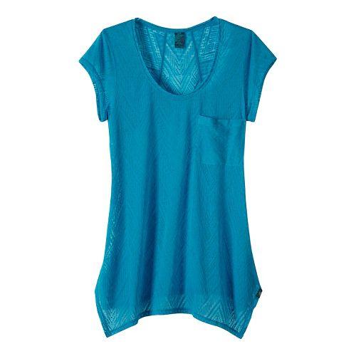 Womens prAna Skylar Short Sleeve Technical Tops - Blue XS