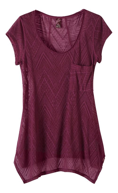 Womens prAna Skylar Short Sleeve Technical Tops - Purple XS