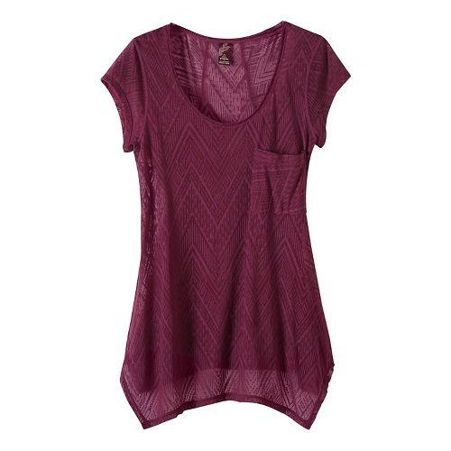Womens prAna Skylar Short Sleeve Technical Tops - Purple XL