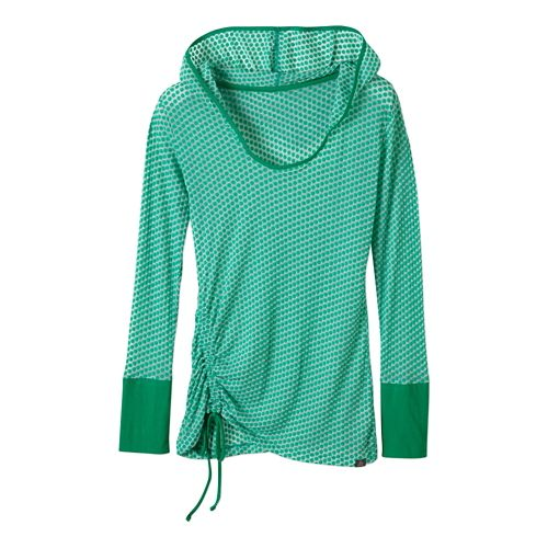 Womens Prana Vinyasa Long Sleeve Hooded Technical Tops - Cool Green XL