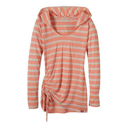 Womens Prana Vinyasa Long Sleeve Hooded Technical Tops - Glowing Coral XS