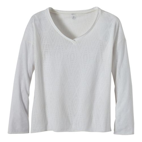 Womens Prana Strata Long Sleeve No Zip Technical Tops - White L