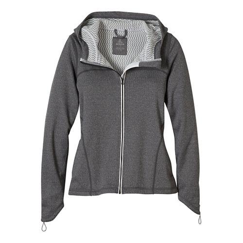 Womens Prana Paisley Warm Up Hooded Jackets - Coal L