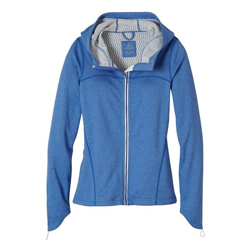 Womens Prana Paisley Warm Up Hooded Jackets - Blue Jay L