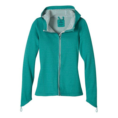 Womens Prana Paisley Warm Up Hooded Jackets - Sea Green L