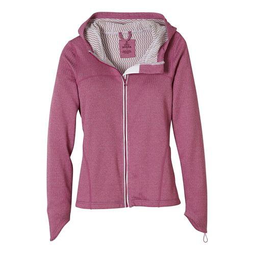 Womens Prana Paisley Warm Up Hooded Jackets - Vivid Viola XS