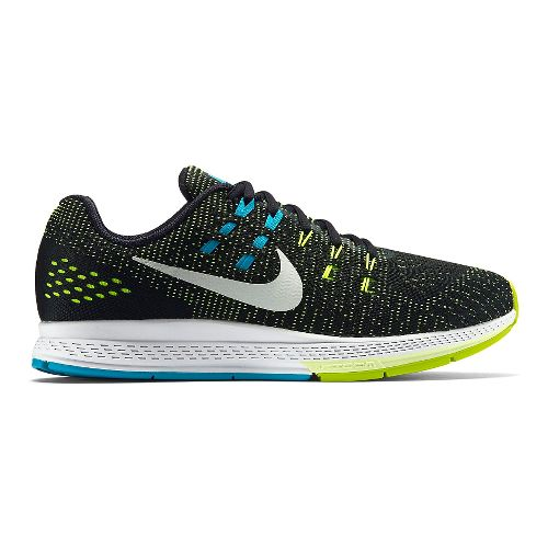 Mens Nike Air Zoom Structure 19 Running Shoe - Black/Volt 11