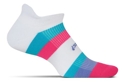 Feetures High Performance Light Cushion No Show Tab Socks - White Multi-Stripe S