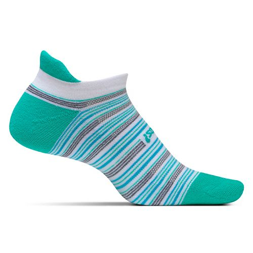 Feetures High Performance Light Cushion No Show Tab Socks - Atlantis Stripe M
