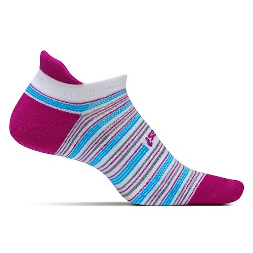 Feetures High Performance Light Cushion No Show Tab Socks - Berry Stripe M