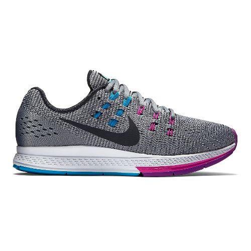 Womens Nike Air Zoom Structure 19 Running Shoe - Grey/Fuchsia 9