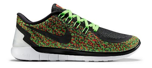 Womens Nike Free 5.0 Print Running Shoe - Green/Orange 9