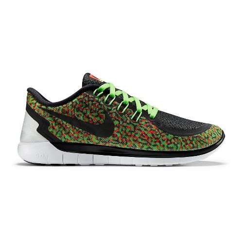 Womens Nike Free 5.0 Print Running Shoe - Green/Orange 11